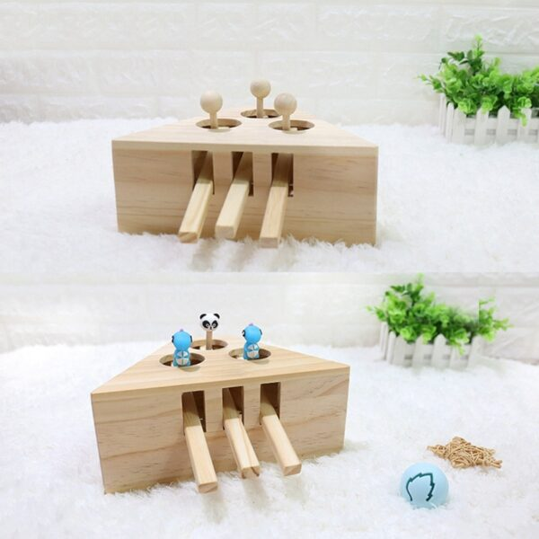 Pet Indoor Solid Wooden Exercise Toy Cat Interactive 5 holed Mouse Seat Scratch Bite Toys 2