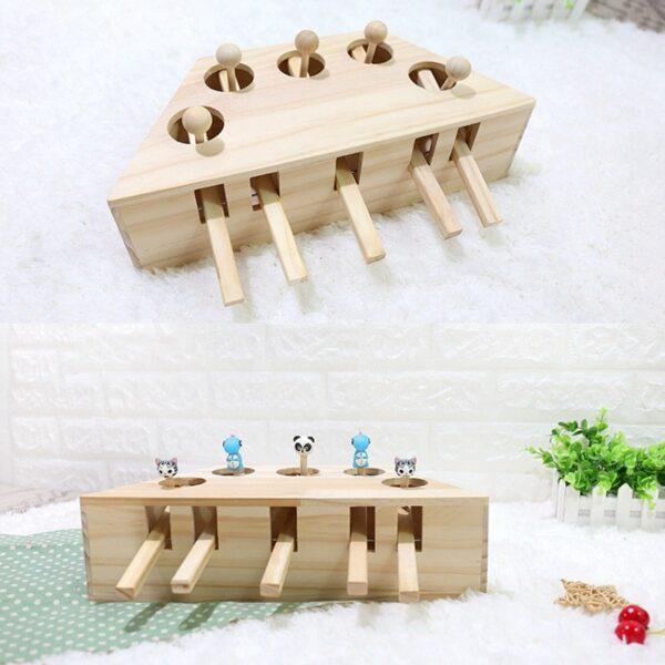 Pet Indoor Solid Wooden Exercise Toy Cat Interactive 5 holed Mouse Seat Scratch Bite Toys 3