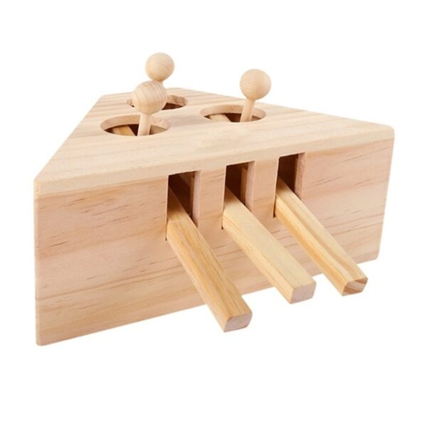 Pet Indoor Solid Wooden Exercise Toy Cat Interactive 5 holed Mouse Seat Scratch Bite