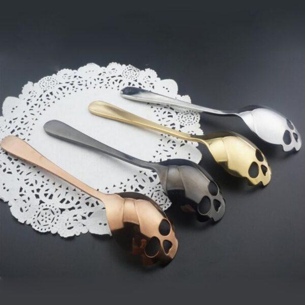Stainless Skull Shape Coffee Spoon Ice Cream Tea Spoons Kitchen Tools Food Drade Tea Coffee Milk 1