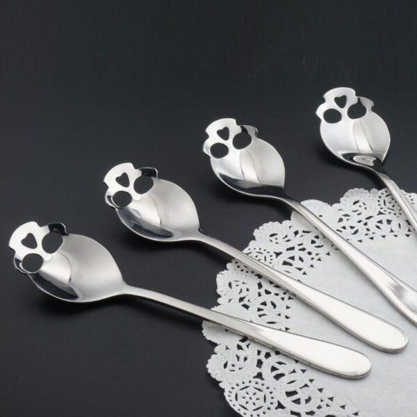Stainless Skull Shape Coffee Spoon Ice Cream Tea Spoons Kitchen Tools Food Drade Tea Coffee Milk 3