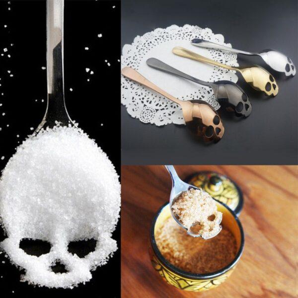 Stainless Skull Shape Coffee Spoon Ice Cream Tea Spoons Kitchen Tools Food Drade Tea Coffee Milk 5