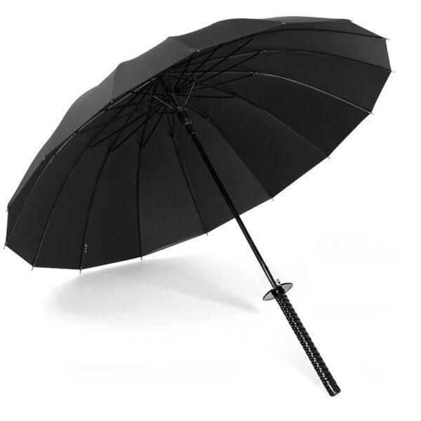 Stylish Black Japanese Samurai Ninja Sword Katana Umbrella Sunny Rainny Long handle Umbrellas Semi automatic 8 10