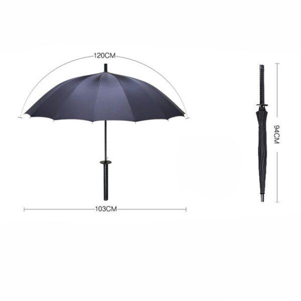 Stylish Black Japanese Samurai Ninja Sword Katana Umbrella Sunny Rainny Long handle Umbrellas Semi automatic 8 7