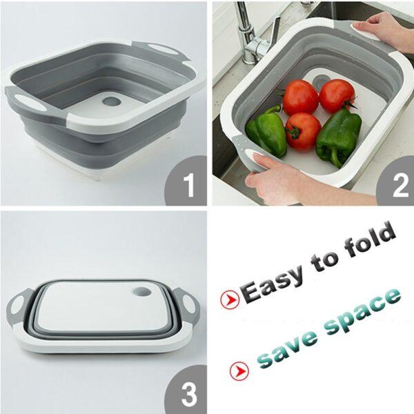 TEENRA Folding Chopping Board Vegetable Fruit Washing Basket Silicone Kitchen Cutting Block Chopping Blocks Sinks Drain 4