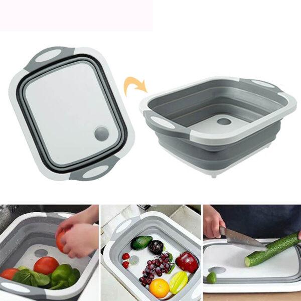 TEENRA Folding Chopping Board Vegetable Fruit Washing Basket Silicone Kitchen Cutting Block Chopping Blocks Sinks Drain 6