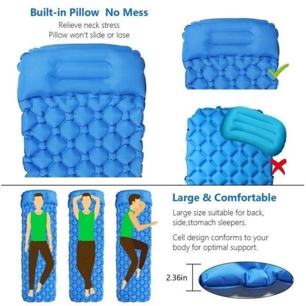 Ultralight Outdoor Inflatable Cushion Sleeping Pad Picnic Compact Camping Mat Air Pad for Camping Hiking Travel 1