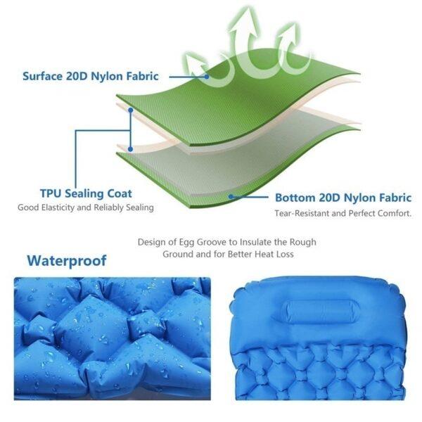 Ultralight Outdoor Inflatable Cushion Sleeping Pad Picnic Compact Camping Mat Air Pad for Camping Hiking Travel 2