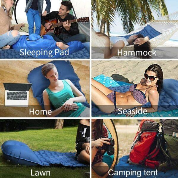 Ultralight Outdoor Inflatable Cushion Sleeping Pad Picnic Compact Camping Mat Air Pad for Camping Hiking Travel 5