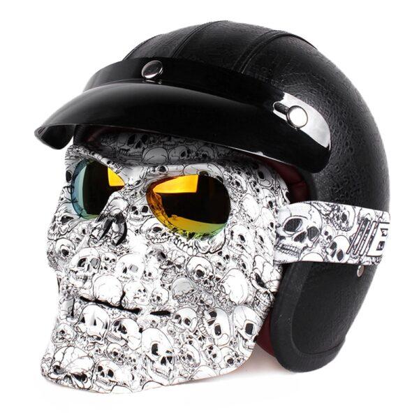 Vintage Skull Motorcycle Glasses Detachable Modular Mask Motorcycle Goggles Mouth Filter Motocross Glasses Moto Helmet Glasses 2