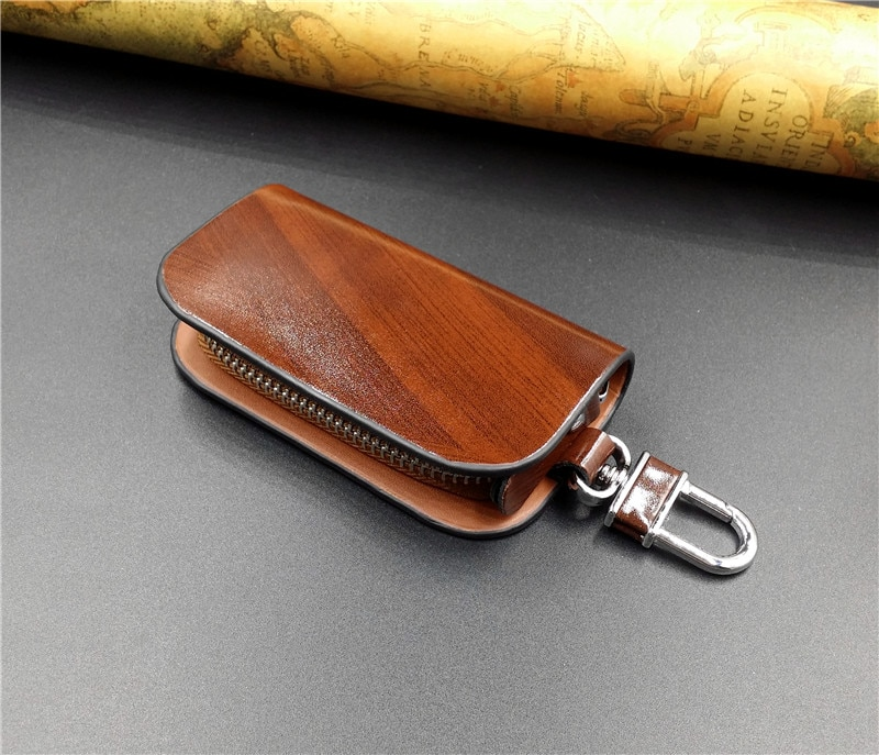 Car Logo Leather Wood Texture Car Key Case Not Sold In Stores