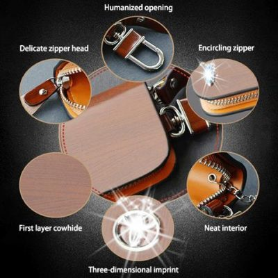 Car Logo Leather Wood Texture Car Key Case, Car Logo Leather Wood Texture Car Key Case