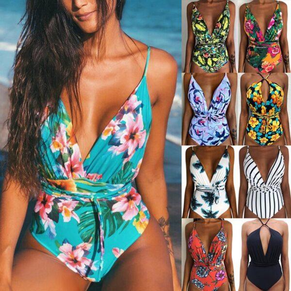 2019 New Women Sexy Print Brazilian One Piece Swimsuit Floral Retro Thong High Waist Bodysuit Backless 1