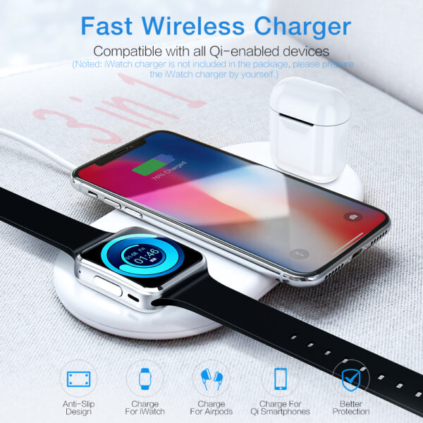 3 in 1 Qi Wireless Charger Plate For iPhone XR XS Max 8 Plus Apple Watch 1