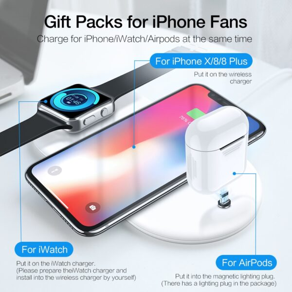3 in 1 Qi Wireless Charger Plate For iPhone XR XS Max 8 Plus Apple Watch 3
