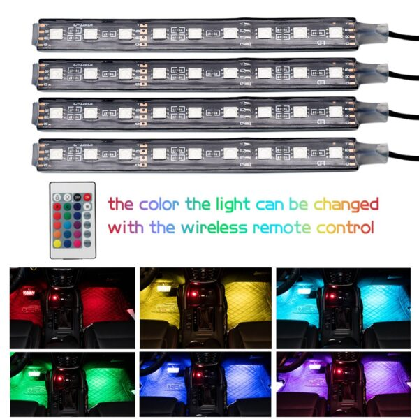 Car RGB LED Strip Light Car Styling Decorative Automobile Atmosphere Lamps Car Interior Light Wireless Remote 1