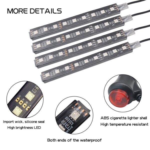 Car RGB LED Strip Light Car Styling Decorative Automobile Atmosphere Lamps Car Interior Light Wireless Remote 2