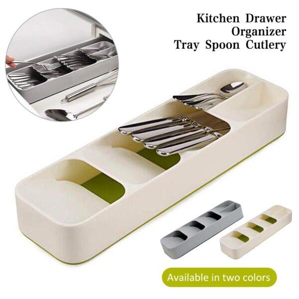 Creative Eco Friendly Kitchen Drawer Organizer Tray Spoon Knife Fork Cutlery Separation Finishing Storage Box Cutlery 1