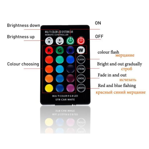 LED T10 Remote Control W5W 501 RGB Color Changing Car Wedge Side Light Bulb Auto Decorative 2