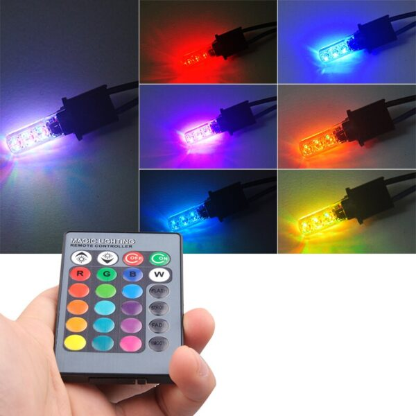 LED T10 Remote Control W5W 501 RGB Color Changing Car Wedge Side Light Bulb Auto Decorative 3