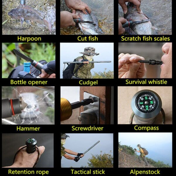 Outdoor Defense Tactical Stick Alpenstock Hiking Tool Camping Equipment Multifunctional Folding Survial Tools Army Stock 2
