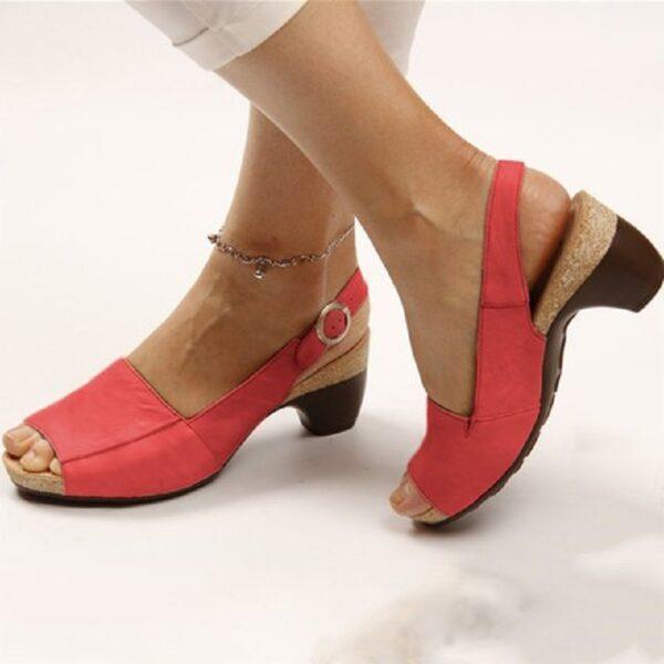 PU leather women roman sandals chunky mid heels vintage ladies shoes summer sexy open toe platform 4