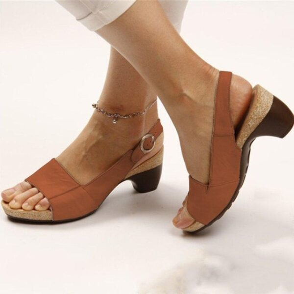 PU leather women roman sandals chunky mid heels vintage ladies shoes summer sexy open toe