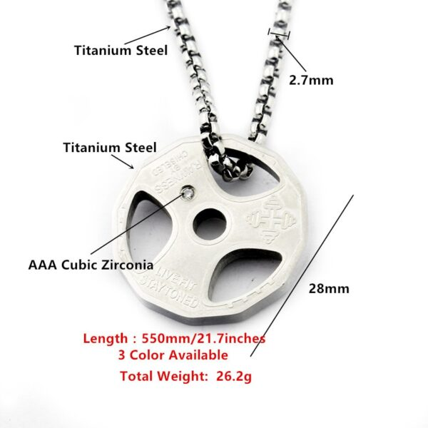 Titanium Stainless Steel Fitness Gym Necklace Weight Plate Barbell Dumbbell Weightlifting Bodybuilding Crossfit Exercise Jewelry 3