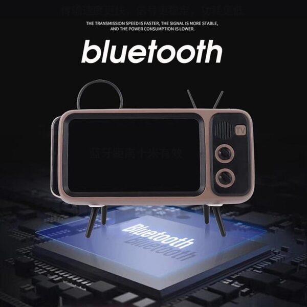 3 In 1 Wireless Peaker Retro TV Mini Portable Bluetooth Bass Speaker Mobile Phone Holder Speaker 1