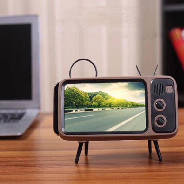 3 In 1 Wireless Peaker Retro TV Mini Portable Bluetooth Bass Speaker Mobile Phone Holder Speaker 3