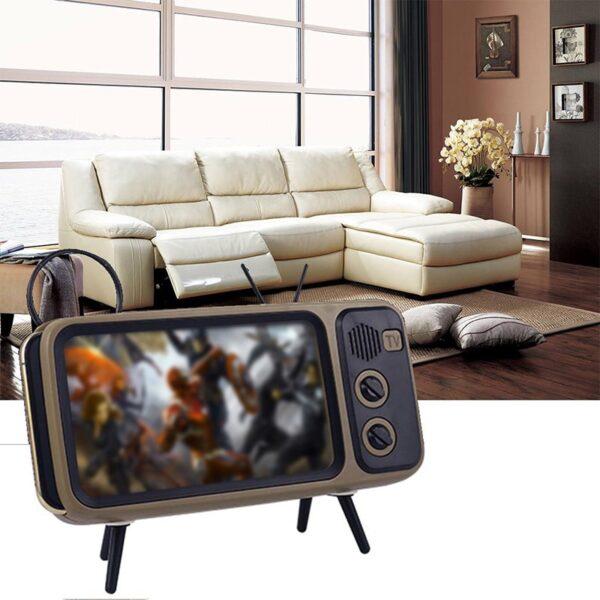 3 In 1 Wireless Peaker Retro TV Mini Portable Bluetooth Bass Speaker Mobile Phone Holder Speaker 5