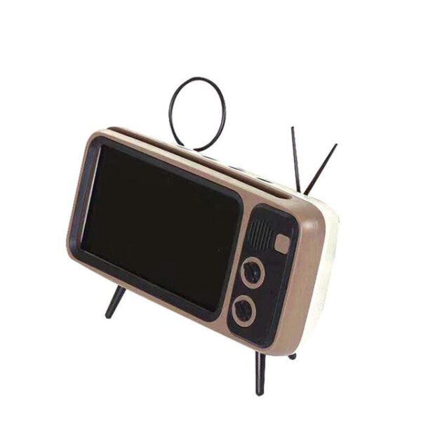 3 In 1 Wireless Peaker Retro TV Mini Portable Bluetooth Bass Speaker Mobile Phone Holder