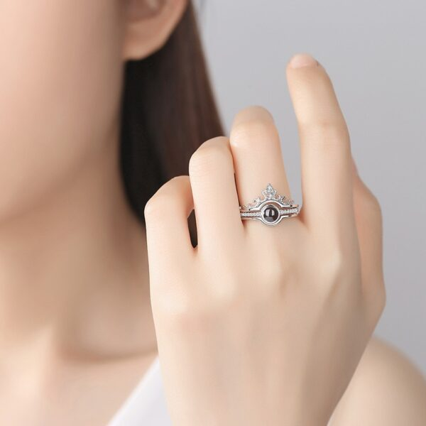 Dropshipping 2019 Rose Gold Silver 100 languages I love you Projection Ring Romantic Love Memory Wedding 2