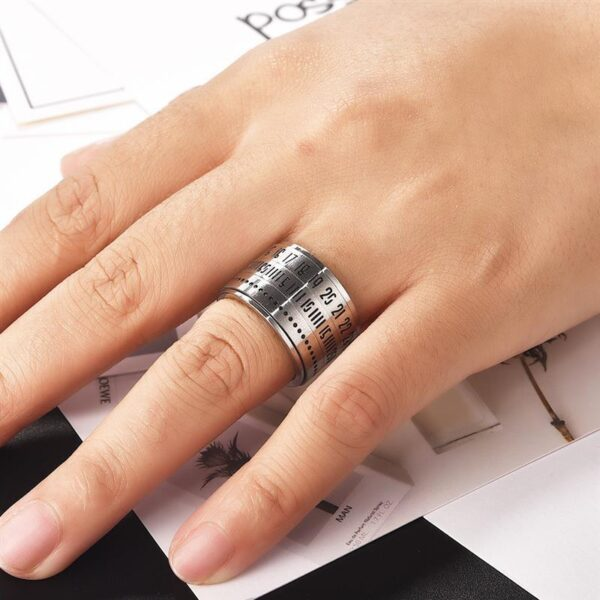 OBSEDE Stainless Steel Spinner Ring with Date Time Calendar Rotatable 3 Part Rings for Women Men 4 1