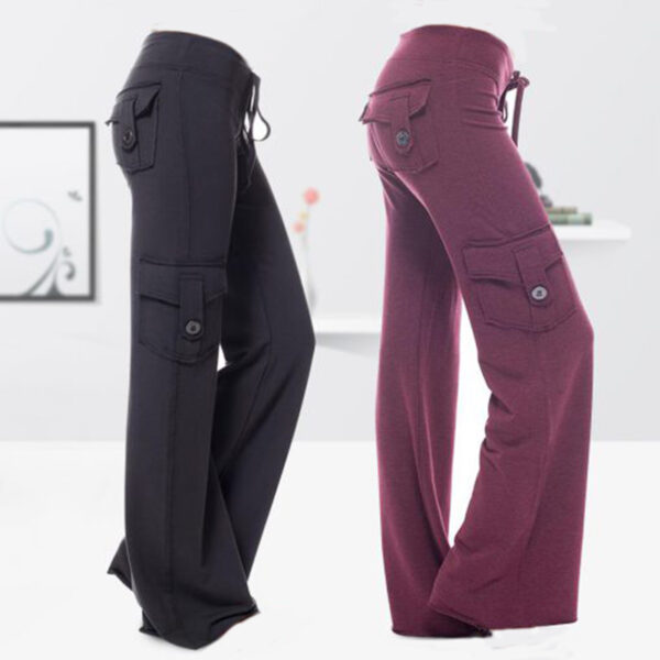 Women Drawstring Solid With Pockets Button Sports Pants Soft Party Summer Casual Slim Fit Training Elastic 5