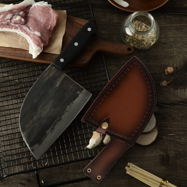 XYj Handmade Forged Chinese Butcher Kitchen Knife High Carbon Steel Chef Knives Bone Chopper Full Tang 1