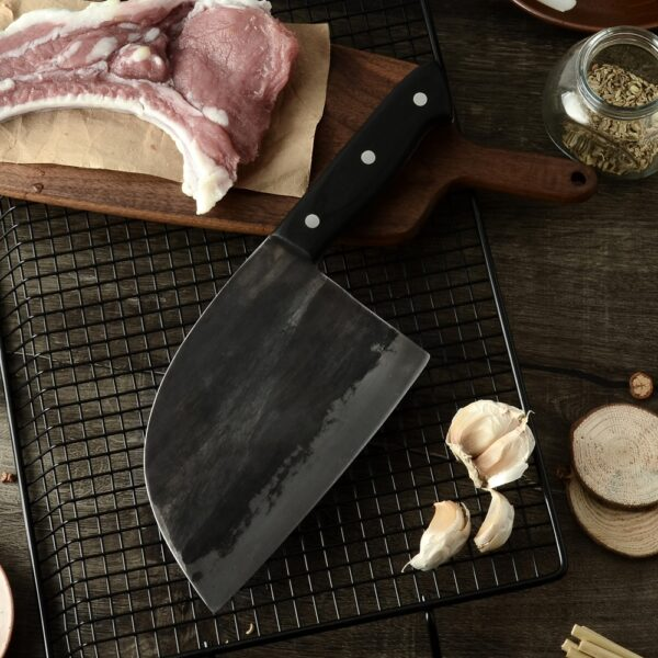 XYj Handmade Forged Chinese Butcher Kitchen Knife High Carbon Steel Chef Knives Bone Chopper Full Tang 2