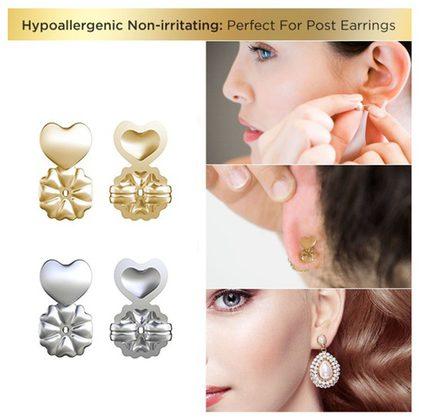 Support Earring Backs, Gold Hypoallergenic Support Earring Backs