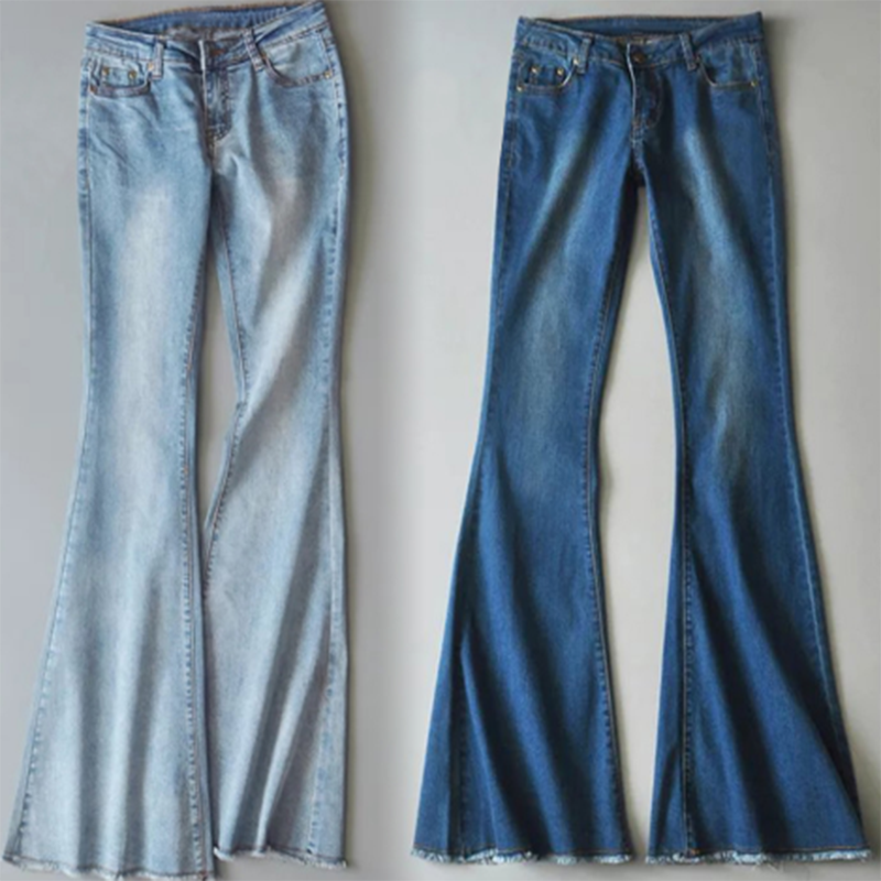Denim Trousers, Mid Waist Casual Button Bell-bottom Jeans