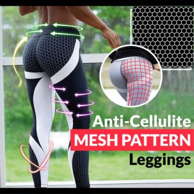 , Anti-Cellulite Mesh Pattern Leggings