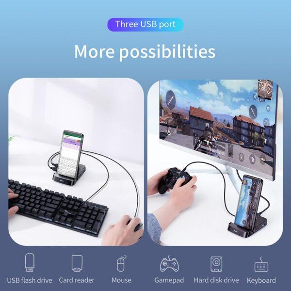 Baseus USB Type C HUB Docking Station For Samsung S10 S9 Dex Pad Station USB C 7