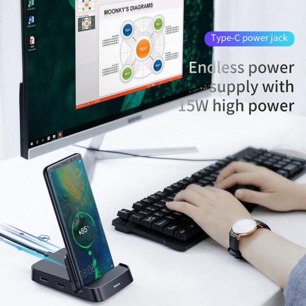 Baseus USB Type C HUB Docking Station For Samsung S10 S9 Dex Pad Station USB C 9