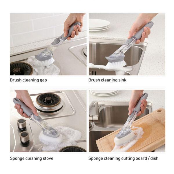 1 5Pcs Double Use Kitchen Cleaning Brush Scrubber Dish Bowl Washing Sponge Automatic Liquid Dispenser Kitchen 3