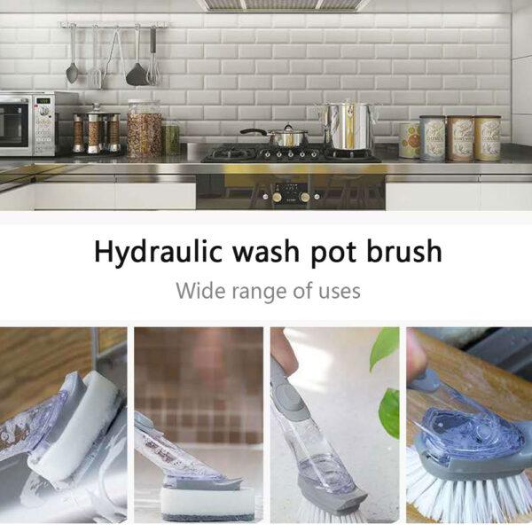 1 5Pcs Double Use Kitchen Cleaning Brush Scrubber Dish Bowl Washing Sponge Automatic Liquid Dispenser Kitchen 4