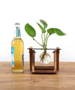 Stand glass, Wooden Stand Glass Planter Tabletop