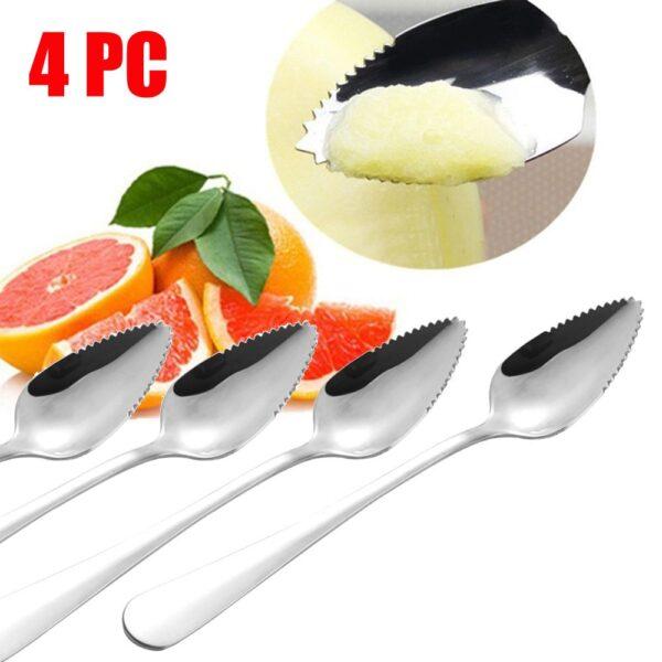 4PC Long Handle Stainless Steel Spoons Fruit Grapefruit Spoon Mirror Polishing Dessert Coffee Stirring Spoons Tea