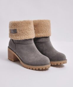 Premium Women Suede Snow Chunky Ankle Boots, Premium Women Suede Snow Chunky Ankle Boots