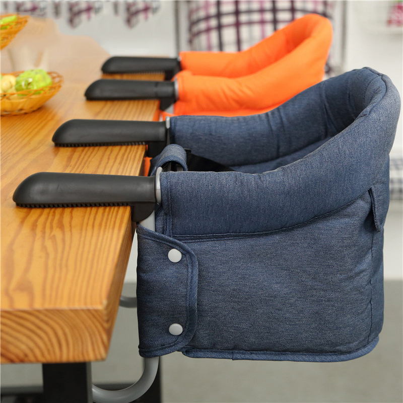 Portable Orange Baby High Chair With Feeding Tray Padded Seat Foldable Highchair