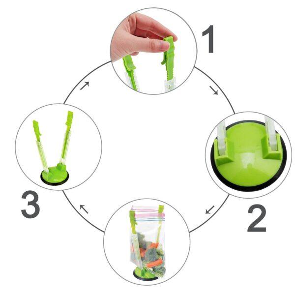 2 Piece Baggy Rack Hands Free Clip Food Storage Freezer Baggy Holder Bag Holder For Plastic 3