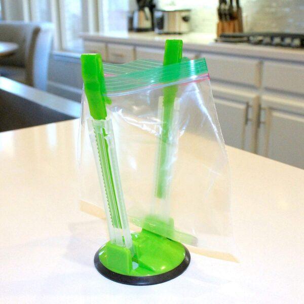 2 Piece Baggy Rack Hands Free Clip Food Storage Freezer Baggy Holder Bag Holder For Plastic 4